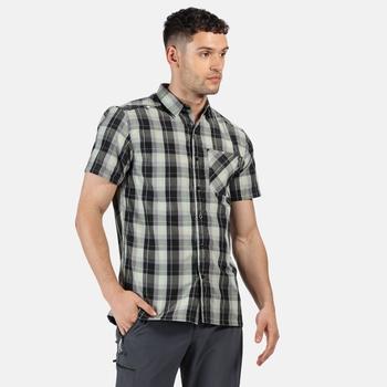 Men's Kalambo V Short Sleeved Checked Shirt Black