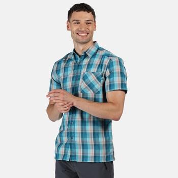 Men's Kalambo V Short Sleeved Checked Shirt Olympic Teal