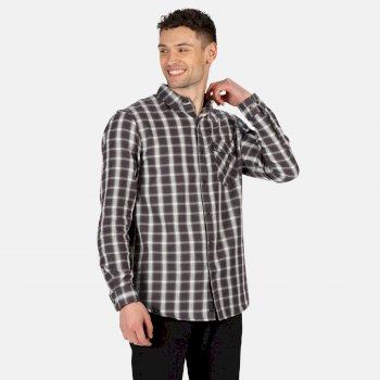 Men's Lonan Long Sleeved Checked Shirt Seal Grey Plaid