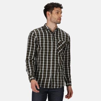 Men's Lonan Long Sleeved Checked Shirt Dark Khaki Plaid