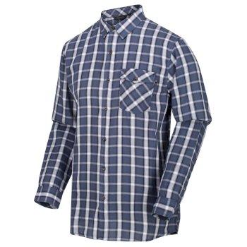 Men's Lonan Long Sleeved Checked Shirt Dark Denim Plaid