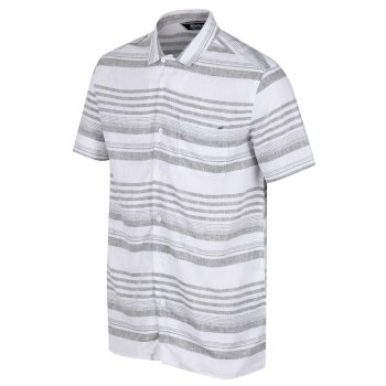 Men's Mahlon Coolweave Short Sleeved Shirt Dark Khaki Stripe