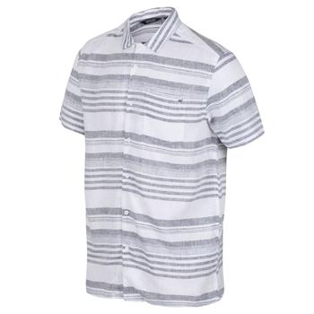 Men's Mahlon Coolweave Short Sleeved Shirt Dark Denim Stripe