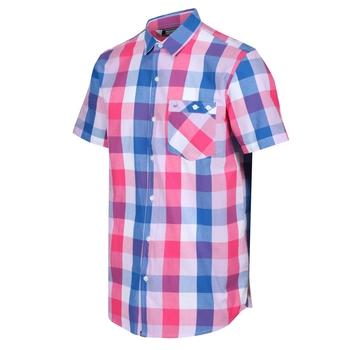 Men's Ramiel Short Sleeved Checked Shirt Bright Pink Check