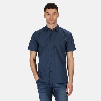 Men's Dalziel Short Sleeved Shirt Dark Denim Diamond Print