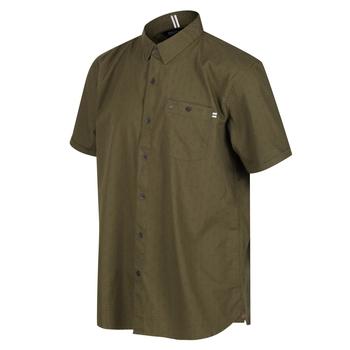 Men's Dalziel Short Sleeved Shirt Camo Green Diamond Print