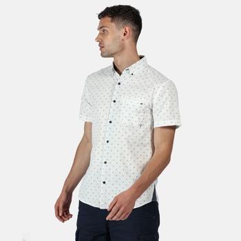 Men's Dalziel Short Sleeved Shirt White Diamond Print