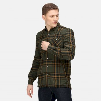 Men's Thamos Long Sleeved Checked Shirt Dark Khaki Check