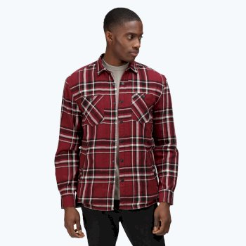 Men's Thamos Long Sleeved Checked Shirt Spiced Mulberry Check