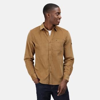 Men's Darien Long Sleeved Shirt Dark Camel Cord