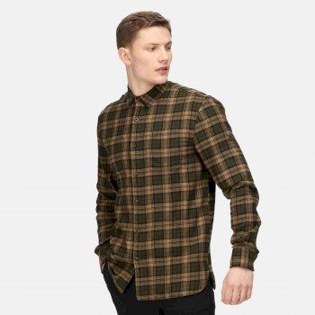 Men's Lance Long Sleeved Checked Shirt Dark Khaki Blackwatch Check