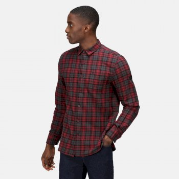 Men's Lance Long Sleeved Checked Shirt Spiced Mulberry Check