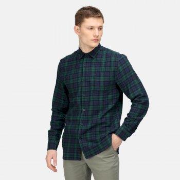Men's Lance Long Sleeved Checked Shirt Deep Pine Buffalo Check