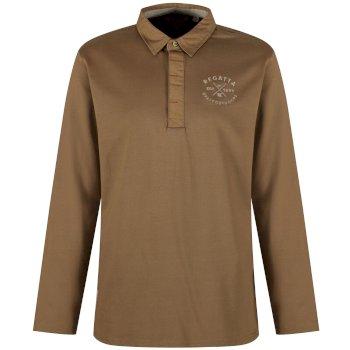 Pierce Rugby Style Shirt Long Sleeved Top Dark Camel
