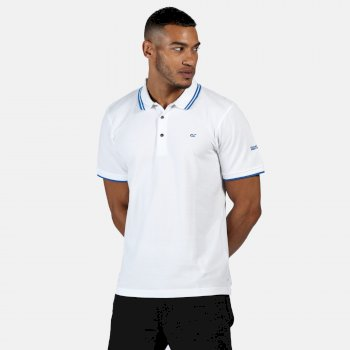 Men's Talcott II Pique Polo Shirt White Nautical Blue