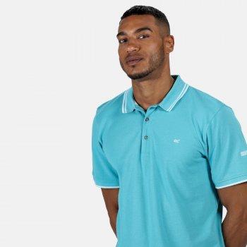 Men's Talcott II Pique Polo Shirt Maui Blue White