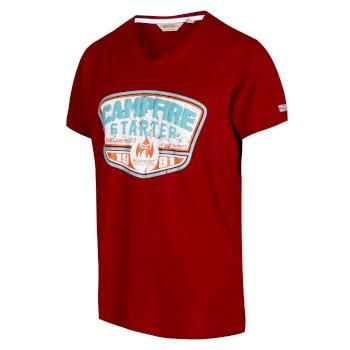 Men's Calton Graphic Print V-Neck T-Shirt Delhi Red