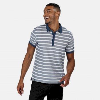 Men's Morrie Striped Polo Shirt Dark Denim