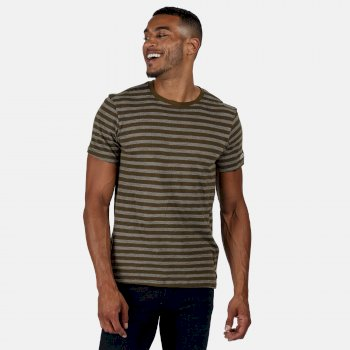 Men's Tariq Striped T-Shirt Camo Green White