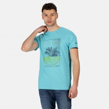 Men's Cline IV Graphic T-Shirt Maui Blue Palm Print