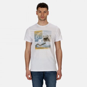 Men's Cline IV Graphic T-Shirt White Summer Scene Print