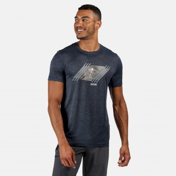 Men's Fingal V Graphic Active T-Shirt Dark Denim Marl