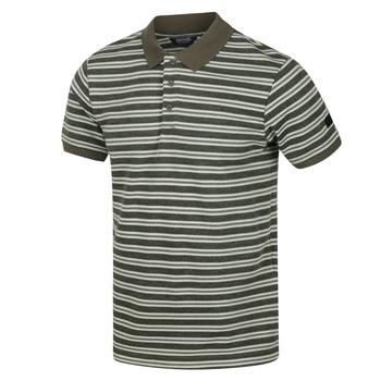 Men's Malak Striped Polo Shirt Dark Khaki Stripe