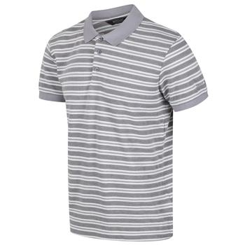 Men's Malak Striped Polo Shirt Rock Grey Stripe