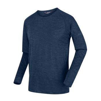Męska koszulka z długim rękawem Burlow ciemnogranatowa
