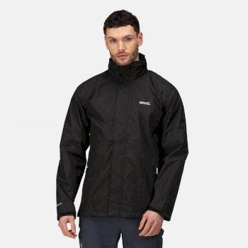 Men's Matt Lightweight Waterproof Jacket with Concealed Hood Black