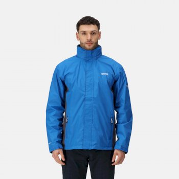 Men's Matt Lightweight Waterproof Shell Hooded Walking Jacket Oxford Blue Iron