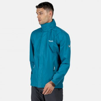 Men's Matt Lightweight Waterproof Jacket with Concealed Hood Olympic Teal Gulfstream