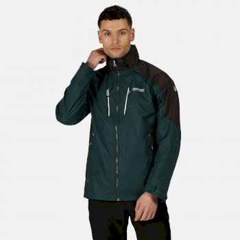 Men's Calderdale III Lightweight Waterproof Walking Jacket with Concealed Hood Deep Pine Ash