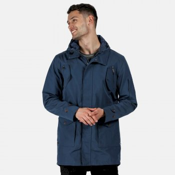 Men's Macarius Waterproof Hooded Parka Jacket Dark Denim