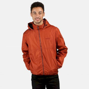 Men's Ladomir Lightweight Waterproof Hooded Bomber Jacket Rust Orange