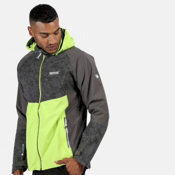 Men's Oklahoma V Reflective Waterproof Hooded Walking Jacket Electric Lime Magnet Grey