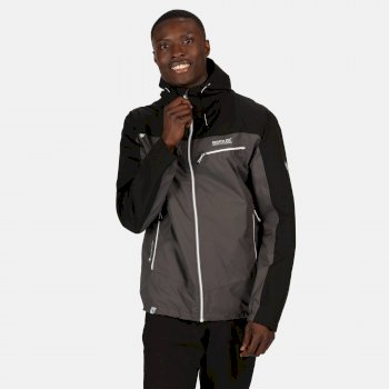 Men's Highton Stretch Waterproof Shell Hooded Walking Jacket Magnet Black