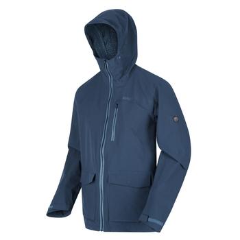 Men's Pulton Waterproof Shell Hooded Walking Jacket Dark Denim