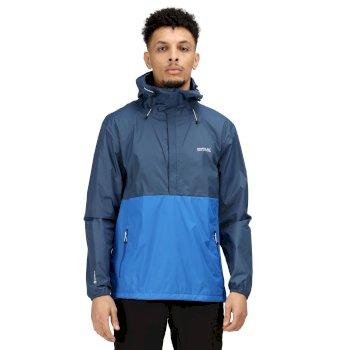 Men's Walfield Waterproof Shell Half Zip Hooded Walking Jacket Dark Denim Nautical Blue