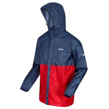 Men's Roldane Lightweight Waterproof Shell Packaway Hooded Walking Jacket Dark Denim Chinese Red
