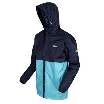 Men's Roldane Lightweight Waterproof Shell Packaway Hooded Walking Jacket Navy Maui Blue