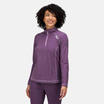 Women's Montes Lightweight Half-Zip Fleece Hyacinth Dark Aubergine Marl Purple Sapphire