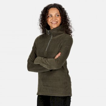 Women's Solenne Mid Weight Half Zip Stripe Fleece Dark Khaki