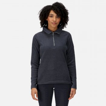 Women's Solenne Mid Weight Half Zip Stripe Fleece Navy Silver