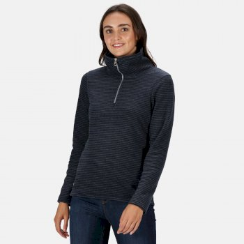 Women's Solenne Mid Weight Half Zip Stripe Fleece Navy