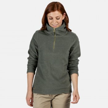 Women's Solenne Mid Weight Half Zip Stripe Fleece Thyme Leaf