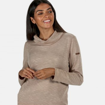 Women's Harmonique Lightweight Cowl Neck Sweatshirt Nutmeg Cream