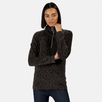 Women's Leela Lightweight Half Zip Printed Fleece Black Leopard