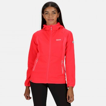 Women's Terota Lightweight Full Zip Hooded Fleece Stretch Midlayer Neon Pink