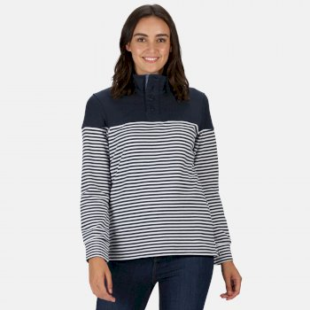 Women's Camiola Lightweight Funnel Neck Sweatshirt Navy Stripe